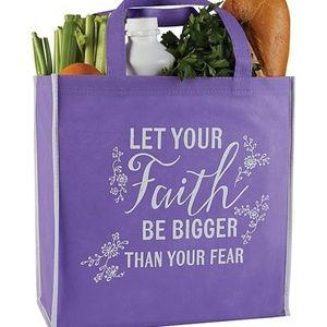 'Let Your Faith' Purple Tote Bag